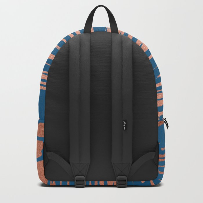Tiger Paint Stripes - Sweet Peach Shimmer on Saltwater Taffy Teal Backpack