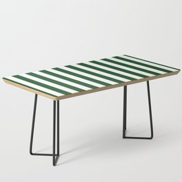 Large Forest Green and White Rustic Vertical Beach Stripes Coffee Table