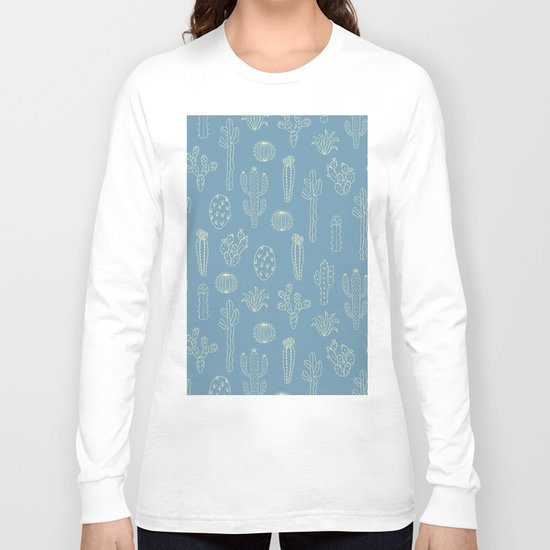 Cactus Silhouette Blue Long Sleeve T-shirt