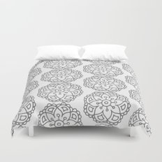 Silver grey lace floral Duvet Cover