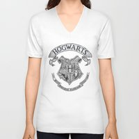 hogwarts V-neck T-shirts featuring Hogwarts by Cécile Pellerin