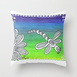 Colorglide Dragonfly Ombre blue green purple Throw Pillow