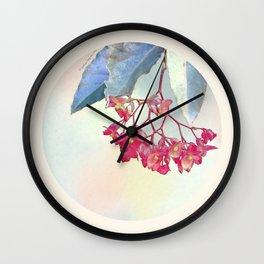 HANGING PINK BEGONIA Wall Clock
