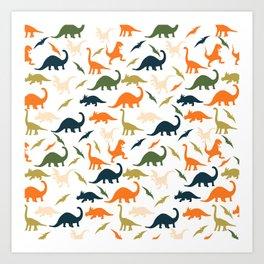 Dinos in Pastel Green and Orange Art Print