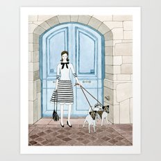Lady With Two Dogs Art Print