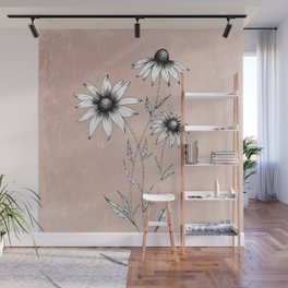 Wildflowers Ink Drawing | Dusty Pink Wall Mural
