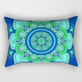 Blue Flower Mandala Rectangular Pillow