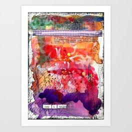 """Bright and Colorful Mixed Media """"How I Tell"""" piece with Reds, Oranges, Pinks Purples Art Print"""