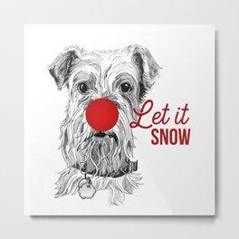 Let it Snow Dog Metal Print