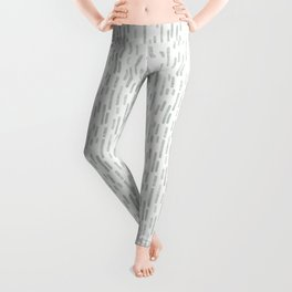 Light Gray Green on White | Large Scale Inky Rounded Lines Pattern Leggings