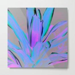 Pink Aqua Lavender Leaves Metal Print