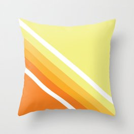 Retro Orange n' Yellow Lines Throw Pillow