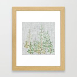 Pine forest on weathered wood Framed Art Print