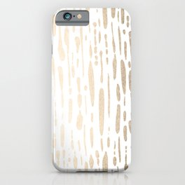White Gold Sands Modern Vertical Dotted Lines iPhone Case