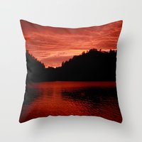 norway Throw Pillows featuring Sunset Norway by Christine baessler
