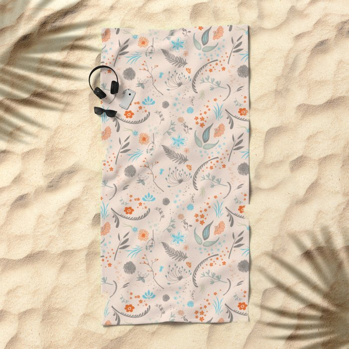 Floral Pattern with Flowers and Leaves Beach Towel
