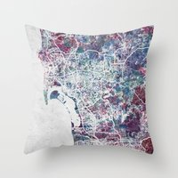 san diego Throw Pillows featuring San Diego map by MapMapMaps.Watercolors