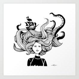 """"""" Sea Battle"""" Hair Art Print"""