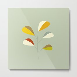 Mid Century Modern Single Leaf Pattern 1. Vintage green Metal Print