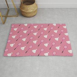 Pink Badminton Pattern Rug