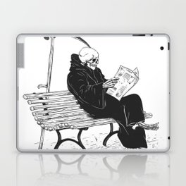 Grim reaper reading newspaper - cartoon skeleton - dark skull Laptop & iPad Skin