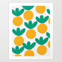 Minimalist Fruit Summer Pattern Art Print