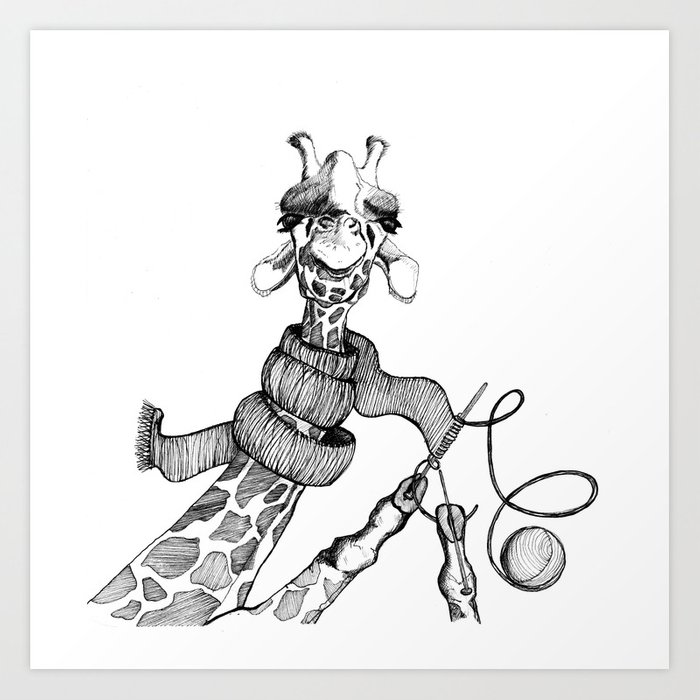 Knitting Giraffe Kunstdrucke