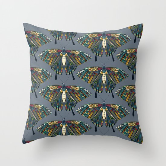 swallowtail butterfly indigo Throw Pillow