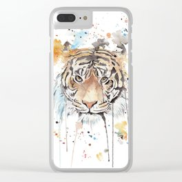 """Watercolor Painting of Picture """"Portrait of a Tiger"""" Clear iPhone Case"""