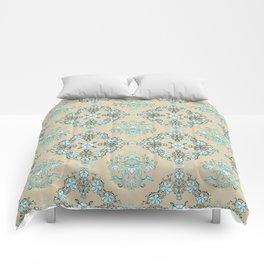 Vintage Floral - Light Blue Comforters