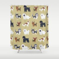 russian Shower Curtains featuring RUSSIAN DOGS by DoggieDrawings