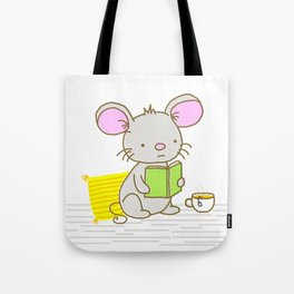 Busy Reading Mouse Tote Bag