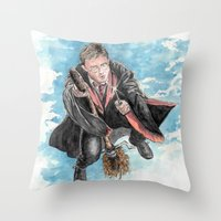 harry potter Throw Pillows featuring Harry Potter  by Dave Seedhouse.com