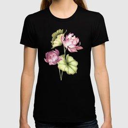 Lotus flower watercolor hand drawn vintage illustration T-shirt