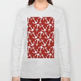 Maritime Nautical Red and White Anchor Pattern - Anchors Long Sleeve T-shirt