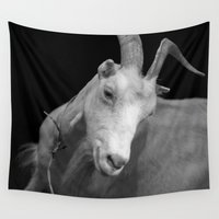 goat Wall Tapestries featuring black goat by Farkas B. Szabina