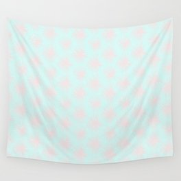 Merry christmas- pink snowflakes and snow on aqua background I Wall Tapestry