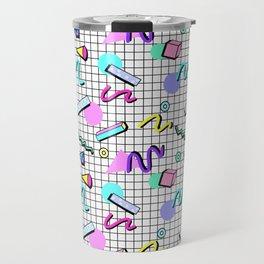 80s Retro Party Grid Design (White BG) Travel Mug