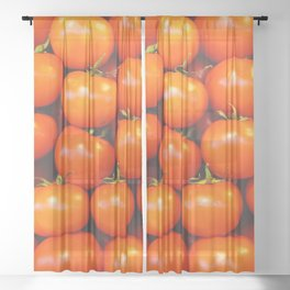 Cute tomato vintage background - organic tomatoes close up view Sheer Curtain
