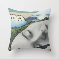 postcard Throw Pillows featuring Postcard #22 by Jon Duci