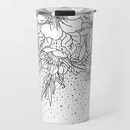 Cute Black White floral doodles and confetti design Travel Mug