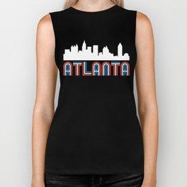 Red White Blue Atlanta Georgia Skyline Biker Tank
