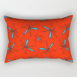 Turquoise Dragonflys On Red-Orange Back Rectangular Pillow