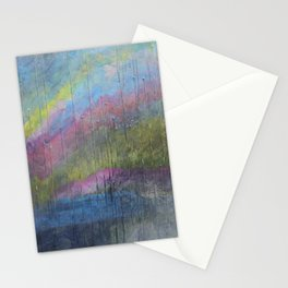 Surprise Valley colorful mixed media abstract landscape Stationery Cards