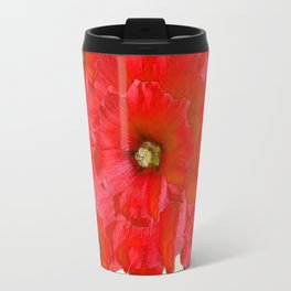 RED FLOWERS & GREEN HOLIDAY FLORAL ART Travel Mug