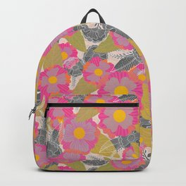Floating Flowers in Purple and Gray Backpack