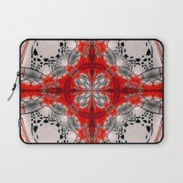 Red Warped Mandala Quadrants Laptop Sleeve