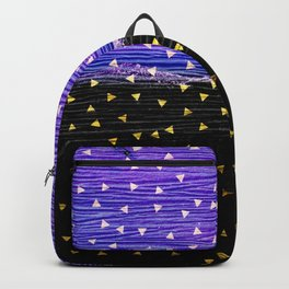Gold Triangles on Violet and Black Backpack