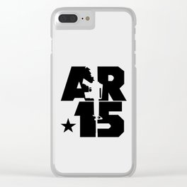 AR-15 (Silver/Black) Clear iPhone Case