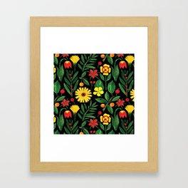 Black yellow orange green watercolor tulips daisies pattern Framed Art Print
